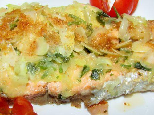 Salmone zucchine e mandorle