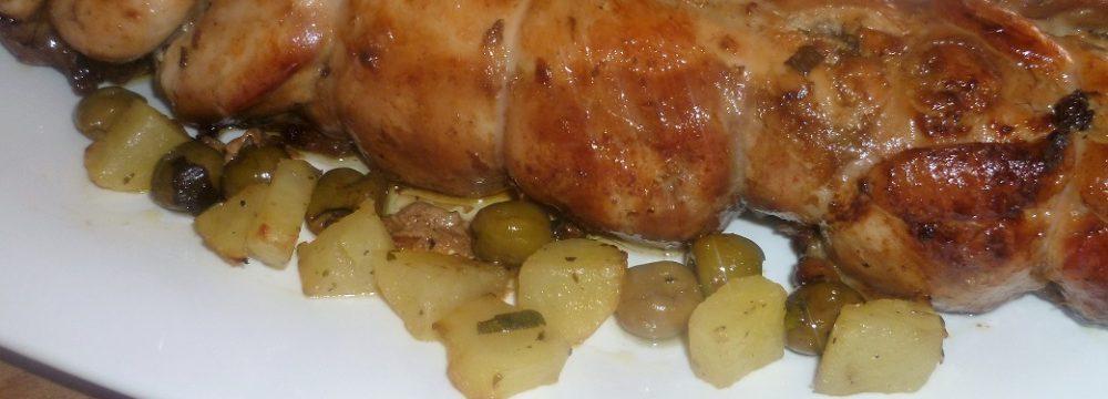 Rotolo di coniglio con carne trita e salsiccia